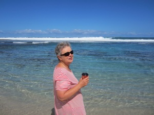 At the Blue Holes. Morning coffee with my feet in the Indian Ocean - what could be better