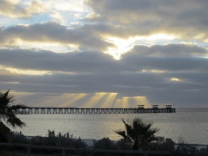 Afternoon sky and the Smoky Bay jetty